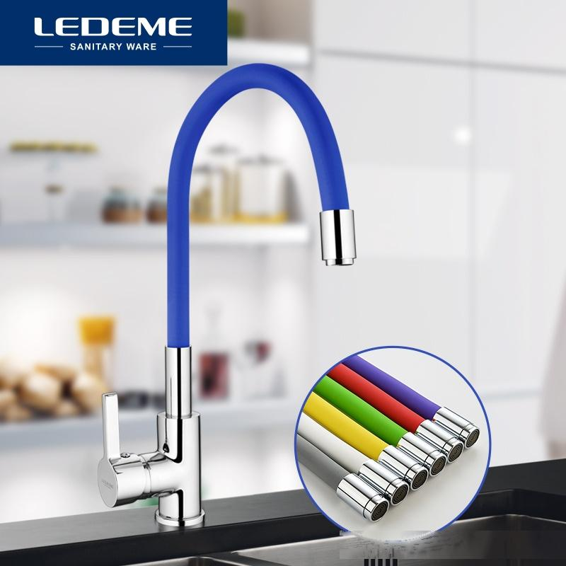 LEDEME Brass Kitchen Faucets Hot And Cold and Water Faucets Chrome Basin Sink Square Tap Mixers Kitchen Faucet L4898 T200424
