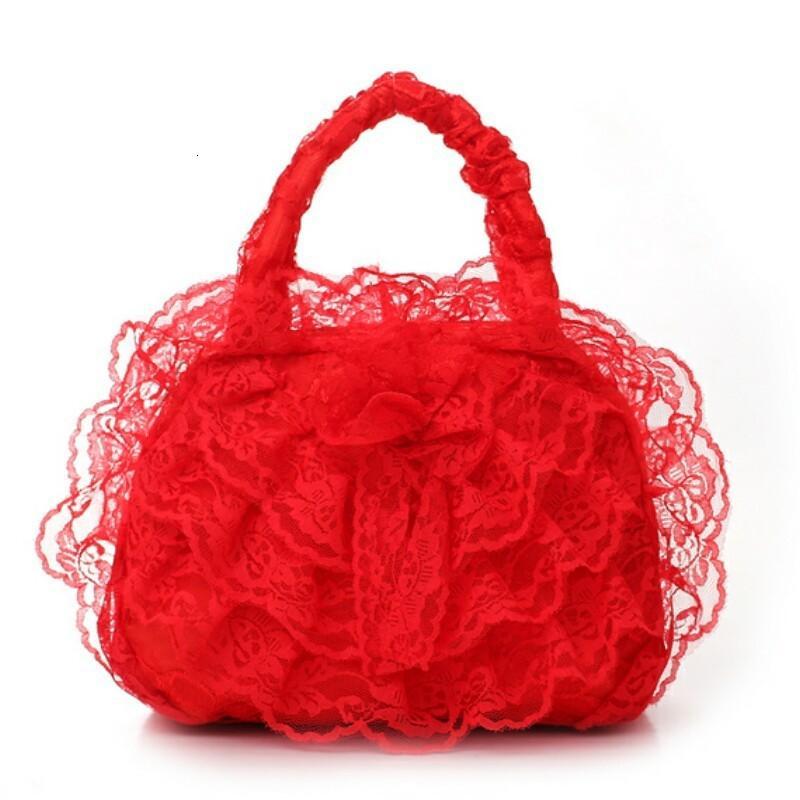 Bolsos New Novide Otoño Invierno Boda Dama de honor Bolso Bolso de tela de encaje rojo grande