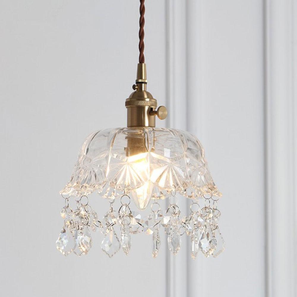 Vintage laiton cristal verre pendentif lampe salon luminaires verre européen rétro pendentif éclairage Vintage tête de tête simple