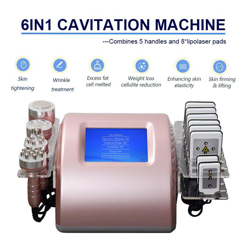 Multifonctions 6 en 1 cavitation ultrasonique radiofréquence RF Vacuum corporel Cellulite Minceur Machine à vendre
