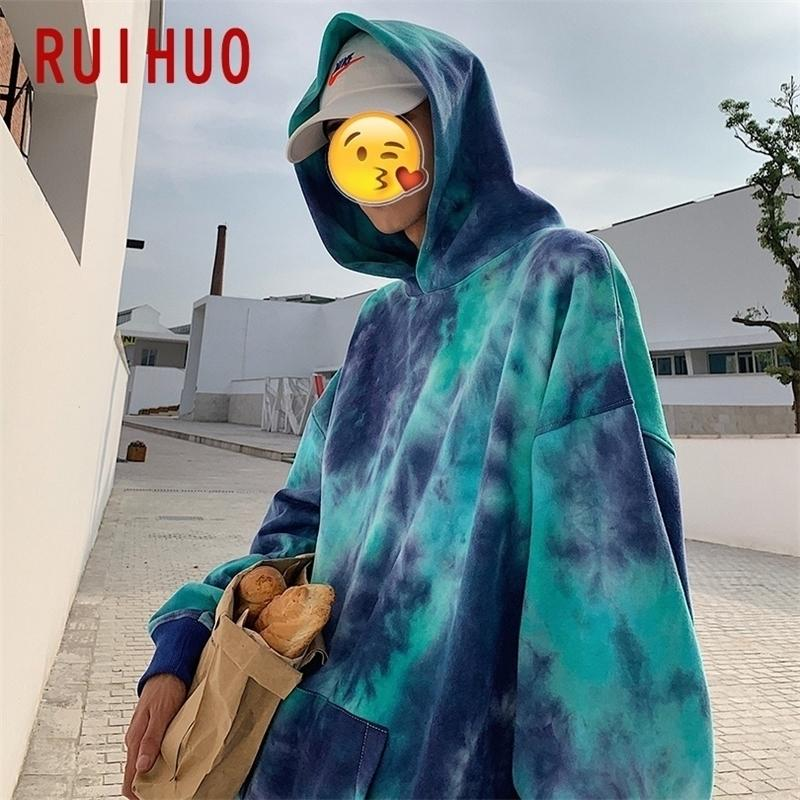 Ruihuo Nueva impresión Sudaderas con capucha Hombres Streetwear Hip Hop Hoodie Sudadera Sudadera Hombres Moda Sudadera con capucha Tops M-2XL Y201123