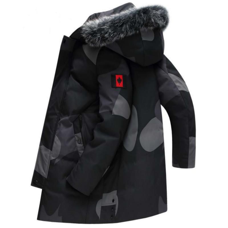 2020 Mode Plus Size Männer Daunenmantel Winter Fuchs Pelzkragen Warm Basic Kanada Jacke Reißverschluss Patchwaork Hooda Parka Daunenjacke Y1120