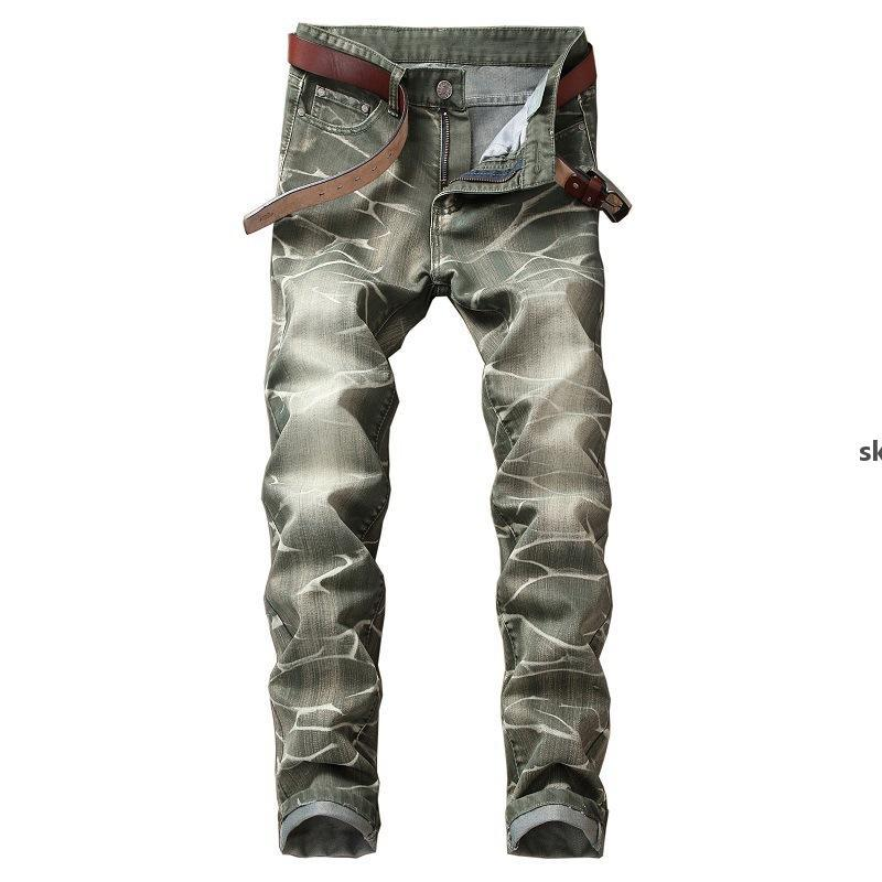 New Fashion Jeans Light Colored Wash Straight For Grinding White Men &#039 ;S Jeans Straight Tube Color Ground White Trousers 5 Color Free j