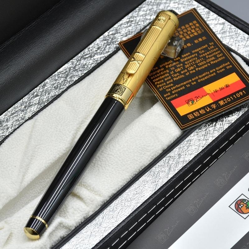 فاخر مربع التعبئة والتغليف - جودة عالية بيكاسو 902 نافورة القلم الأسود الذهبي تصفيح نقش مكتب اللوازم المدرسية عالية كوليتي الكتابة الحبر القلم