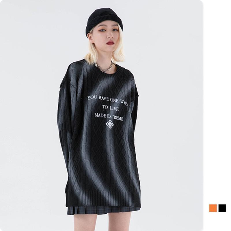 Suéteres para hombre Hombres de pintura Hombres con letras suéter de impresión 2021 cálido O-cuello de otoño de punto para pareja de gran tamaño hip hop