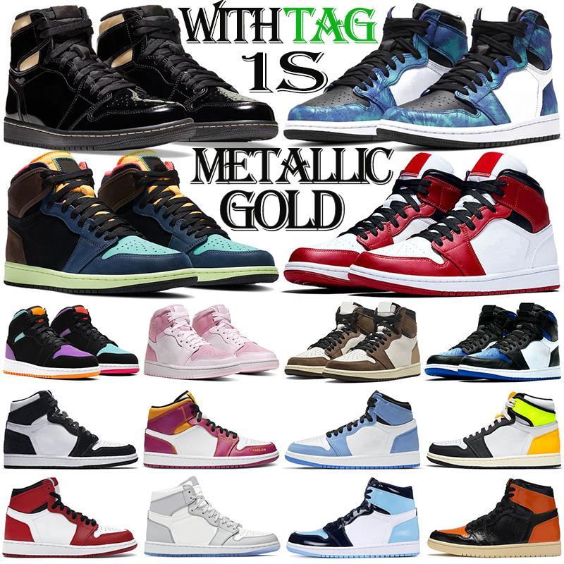 retro 1 1s aj1 jumpman 1s мужские баскетбольные кроссовки 1 1s на открытом воздухе мужские женские кроссовки Metallic Gold Tie Dye Chicago модные женские спортивные кроссовки