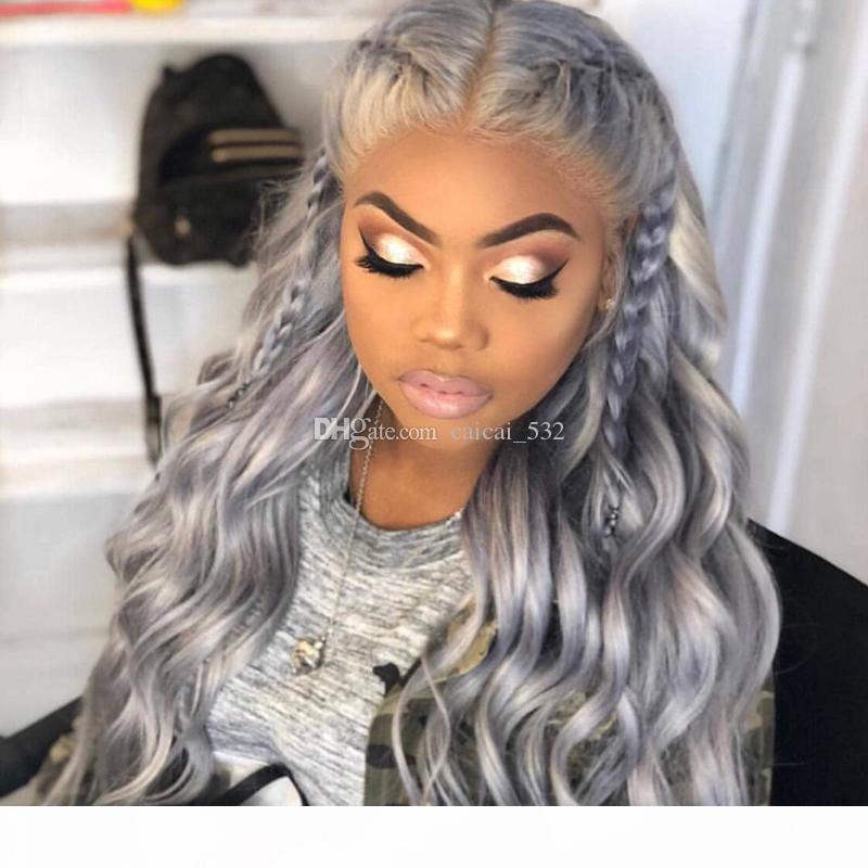 9a grade perruque perruque brésilienne de dentelle pleine de dentelle sans gluosité # 1b gris ombre vague de corps de corps humain cheveux fronzers femmes femmes femmes