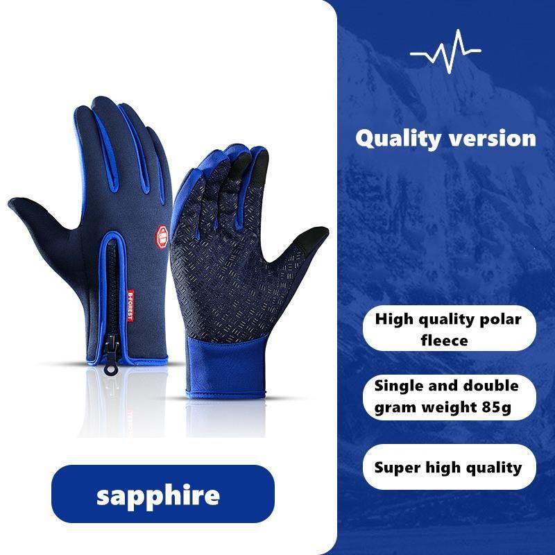 Зимняя водонепроницаемая термическая флисовая мужчина женщины велосипедные перчатки полный палец теплый сенсорный экран открытый спорт лыжные езды велосипедные перчатки