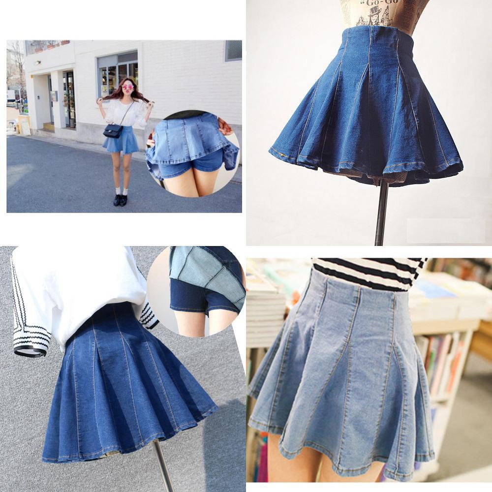 Etekler Bayan Denim Seksi Pileli 2020 Kore Tarzı Kadın Etek Okul Yüksek Bel Tutu Mini Etekler Kısa Kot Saia Jupe Femme W1218