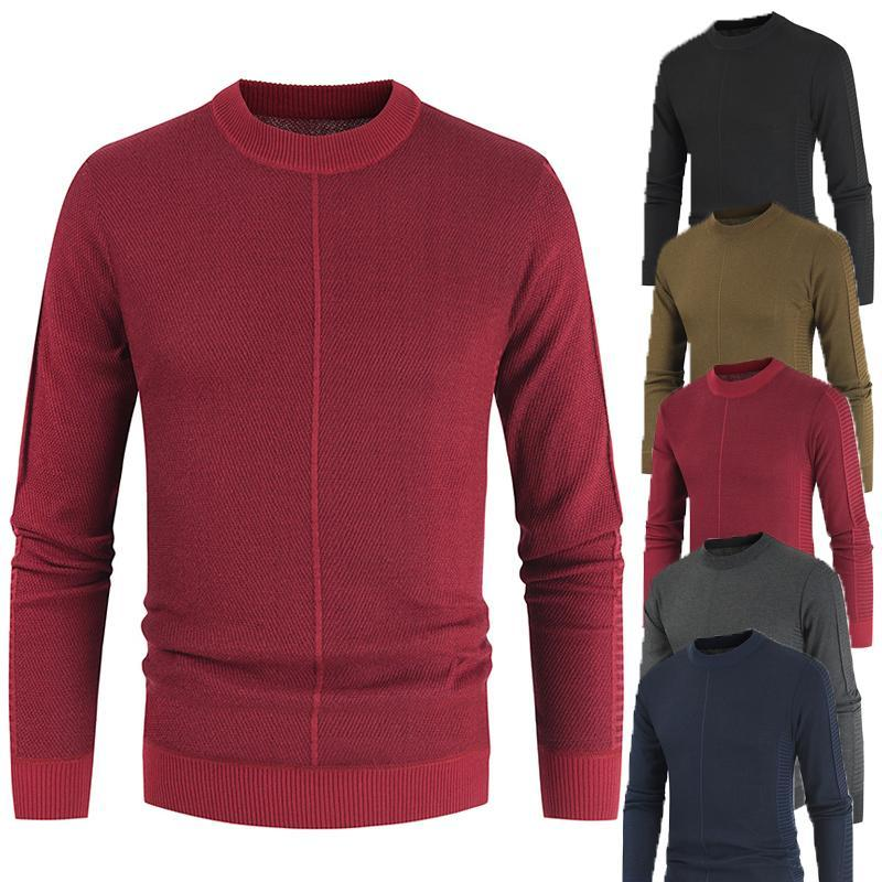 Suéter masculina legível grande camisola O-pescoço homens casuais outono inverno quente pulôver macho malha macho preto 3xl