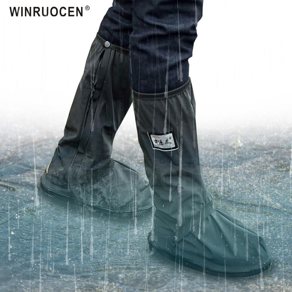 Bisiklet Ayakkabı Kapak Su Geçirmez Rüzgar Geçirmez Yağmur Çizmeleri Siyah Yeniden Kullanılabilir Kapakları Erkekler Kadınlar Için Bisiklet Overshoes Boot Ayakkabı Q1216