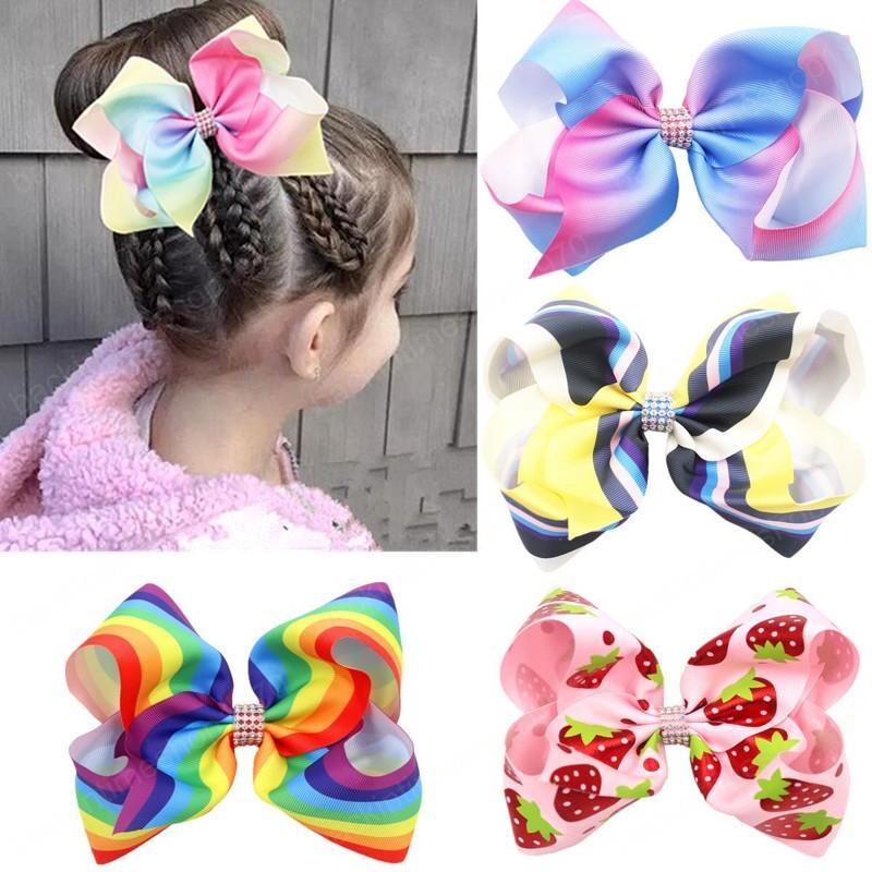 8 pouces bébés filles arcpin coiffure arc-en-ciel print headwear headwear accessoires de cheveux frais enfants cheveux bow-nœud barrettes