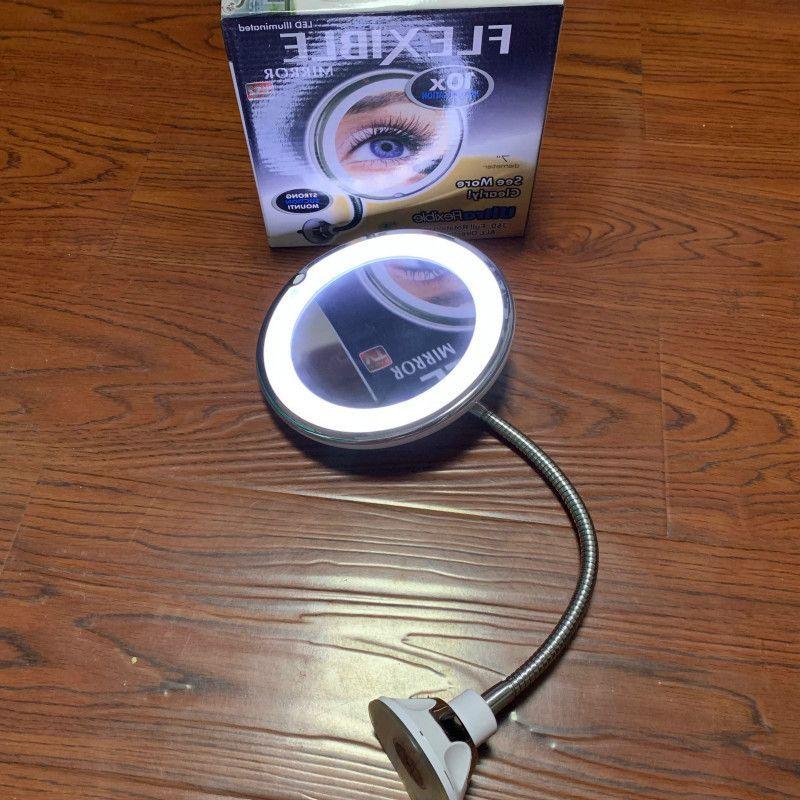 Увеличение Макияж Зеркало Светодиодная чашка с гусиной целой Удлинен металлический шланг 360 градусов Компактные зеркала