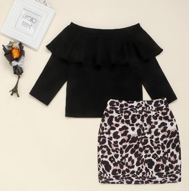Girls 'Black One-peek Top + Leopard Print Bag Bag Shirt Suits Side и маленький дети для детей