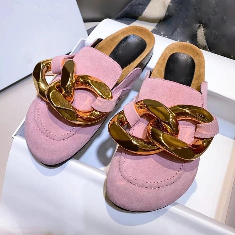 الذهب سلسلة البغال جولة تو شقة منصة كسول المتسكفون أحذية نسائية في الهواء الطلق شاطئ النعال الإناث الأحذية
