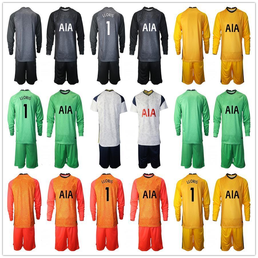 Manga Longa Futebol Jersey Childrens Goleiro Kit de futebol Jersey Lloris Tottenham Home Kit Sets Uniforme 2020 2021