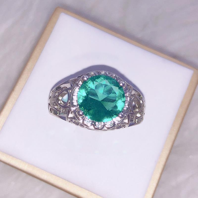 Vintage verde cristal anel moda elegante fábrica de noivado de senhoras atacado y1209