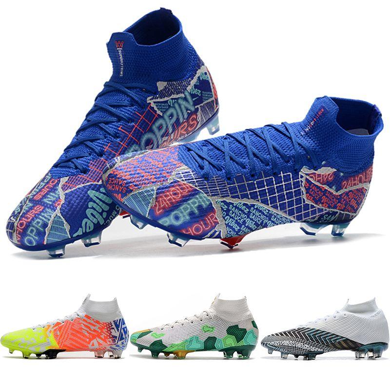 2021 cr7 megc رجل كرة القدم الأحذية حلم سرعة mercurial superfly360 7 النخبة fg كرة القدم الأحذية sancho الأولاد العشب لعبة الرياضة المرابط الأحذية