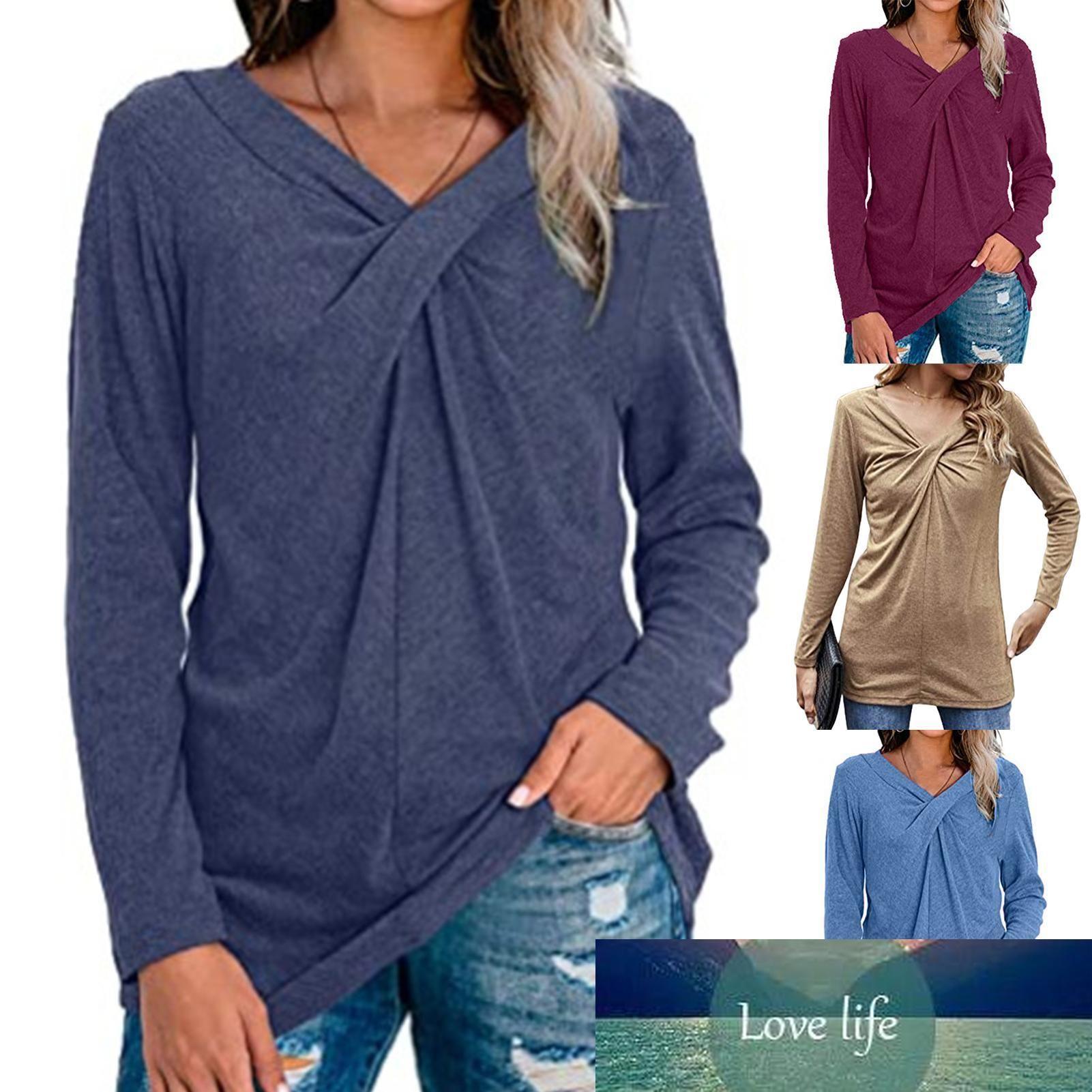 Moda T-Shirt Kadınlar Sonbahar Rahat Pamuk Polyester Sonbahar V Boyun Uzun Kollu Üst Tişört Göğüs Çapraz Knot Tee Kazak