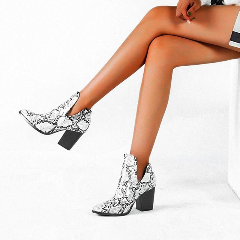 2020 Moto Western Cowboy Boots Donne Animale Snake Pattern PU Leather Tacchi alti Slip on Cowgirl Stivaletti Ankle Botas Scarpe # RK2U