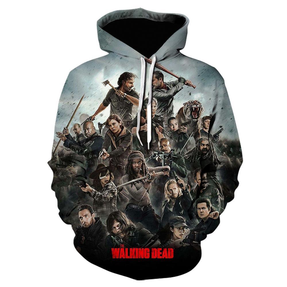 The Walking Dead 3D Sweats à capuche imprimé Sweatshirts Horror TV Drame Pull Casual Pull Hommes Femmes Halloween Streetwear Sweats à capuche à capuche