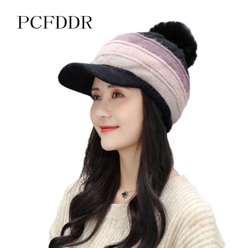 PCFDRR 2020 Versión coreana de NUEVO Conejo de invierno Sombrero de pelo engrosado de lana de lana Moda Fashion Versátil Cálido de felpa sombrero de punto.