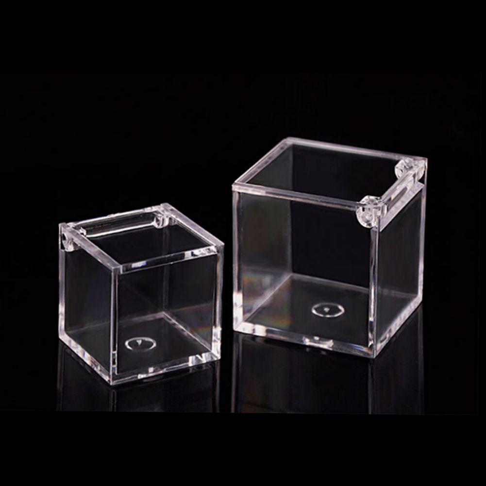 200 stücke Essensgrad Klarer Kunststoff Square Box Candy Box Flip Transparent Geschenk Verpackungskoffer Hochzeit Favor SOuvenirs Geschenk Geschenkbox 6 * 6 * 6 cm