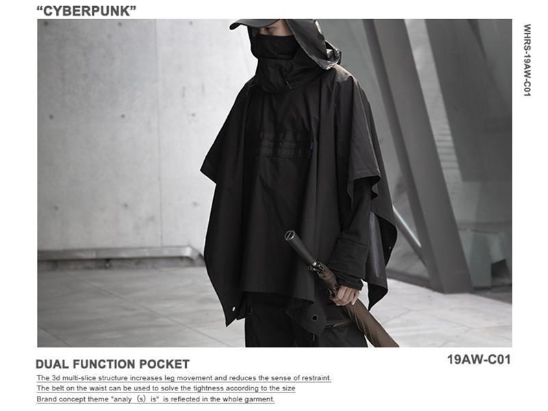 Donne uomini tattico mantello fresco all'aperto antivento a mantello acqua repellente unisex tecnico tecnico avant garde moda uomini antivento