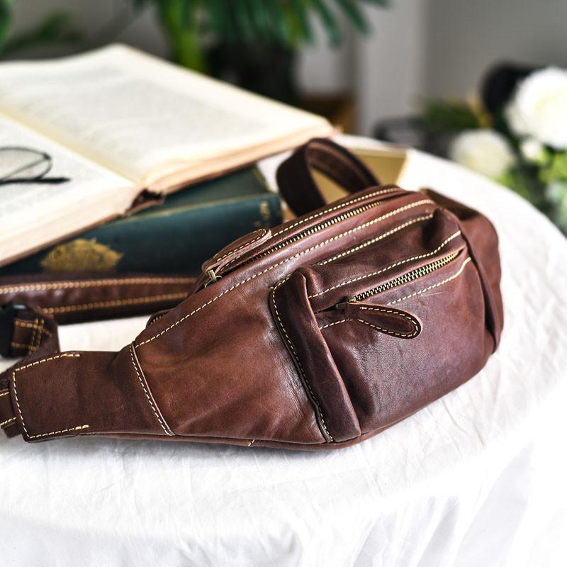 Retro Simple Unisex Genuine Pelle Pelle Borsa Top Layer Layer Cowhide Running Cash Register Bag a tracolla multifunzionale