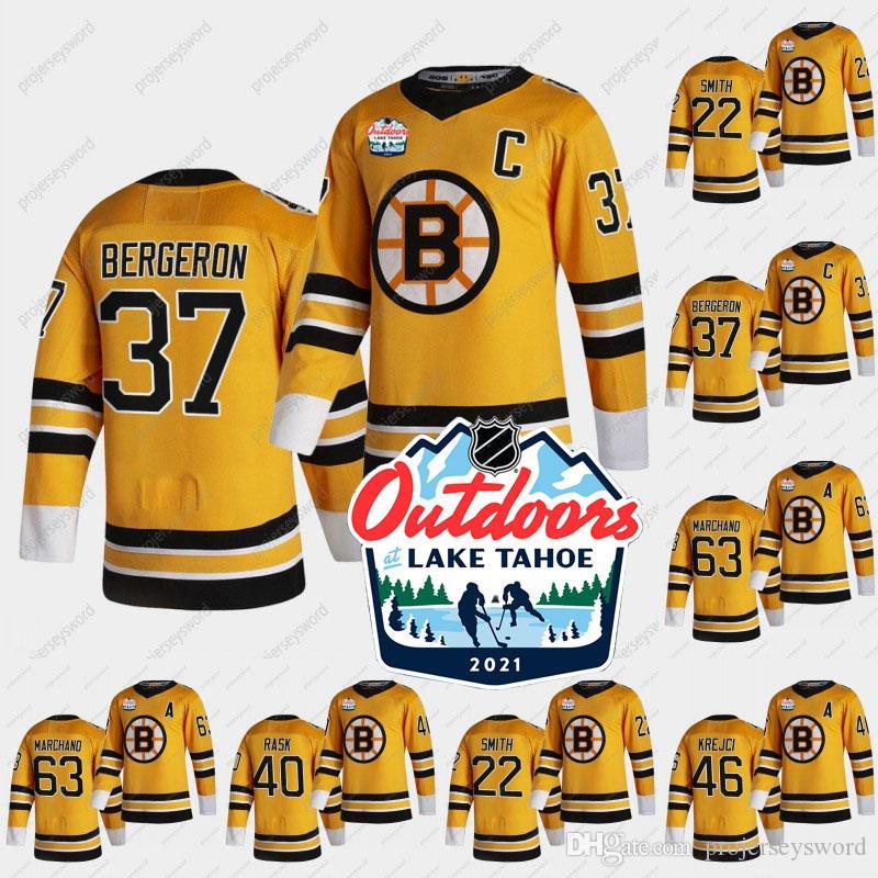 2021 Plein air dimanche rétro Jersey Boston Bruins Patrice Bergeron Craig Smith Tuukka Rask David Krejci Brad Marchand Charlie Coyle Jerseys