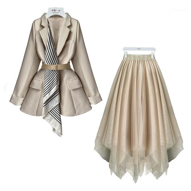 Vintage outono inverno novo estilo pequeno fragrância mulheres saia terno damasco enticio blazer jaqueta saia 2020 escritório desgaste suits1