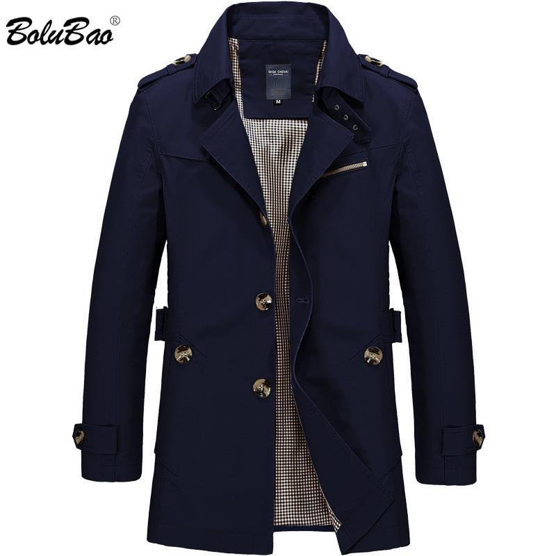 BOLUBAO New Men Fashion Jacket Coat Spring Brand Men's Casual Fit Wild Overcoat Jacket Solid Color Trench Coat Male 201114