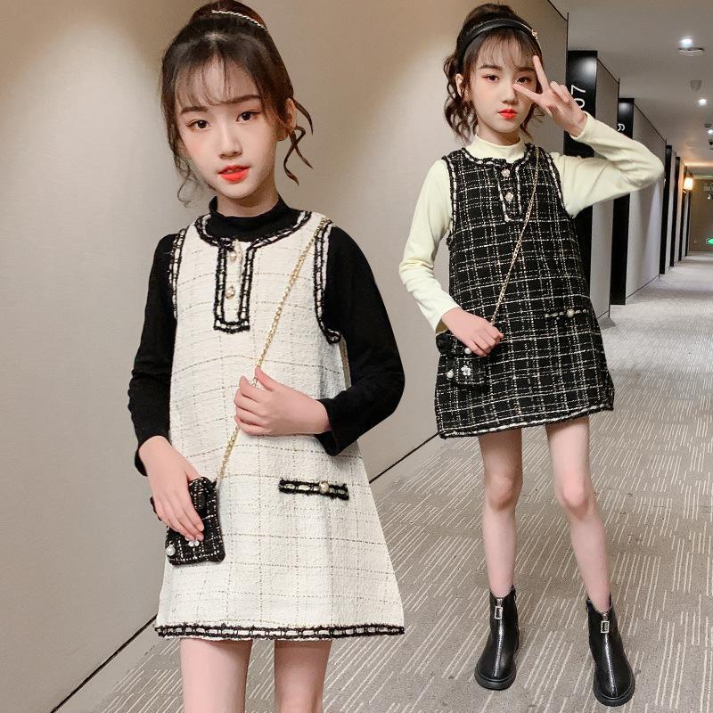 Einzelhandel Kids Designer Kleidung Mädchen Bottoming Hemd + Kleider + Messenger Bag Infant Gestrickte Prinzessin Pullover Kleider + Herbst Toddle Kinder B