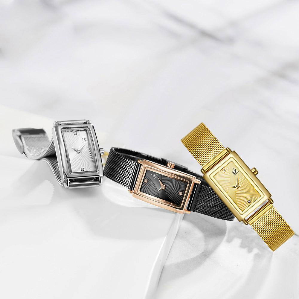 Shengke 고품질 숙녀 드레스 시계 패션 쿼츠 손목 시계 아날로그 다이얼 스테인레스 스틸 스트랩 2021 간단한 스타일 여성 손목 시계