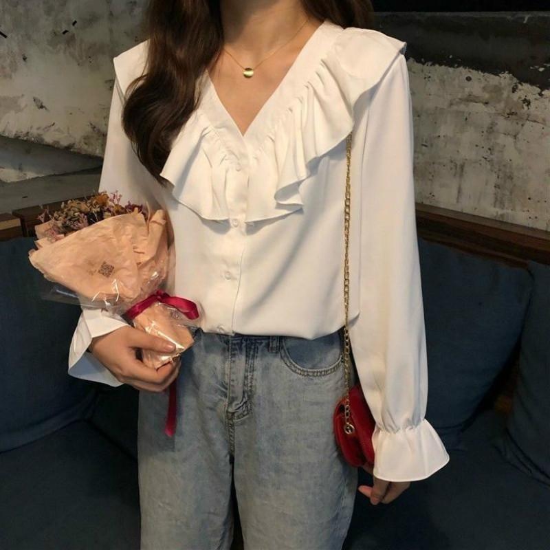 2020 herbst neue retro bluse mode frauen chiffon casual v-neck button langarm weich süß lose weibliche hemd koreanisch