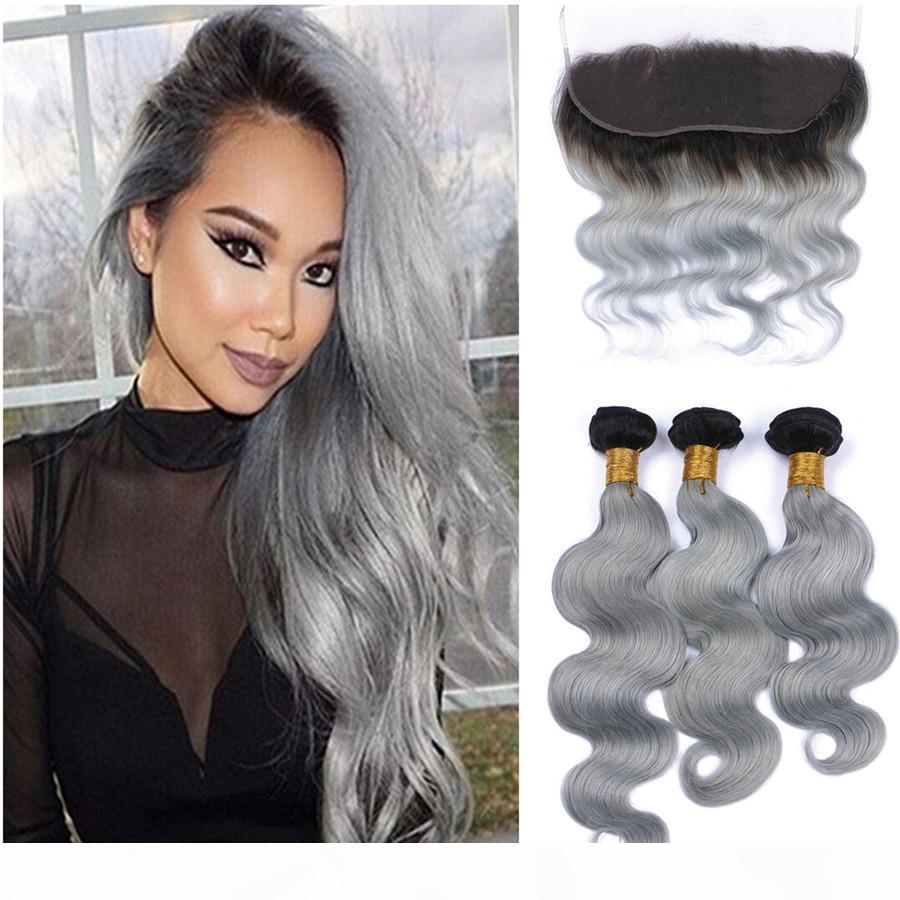Серый бразильский девственница волосы волосы человеческие волосы плетение с кружевом фронтальным 8А необработанные кузова волна щенок серых пучков уток уток волос