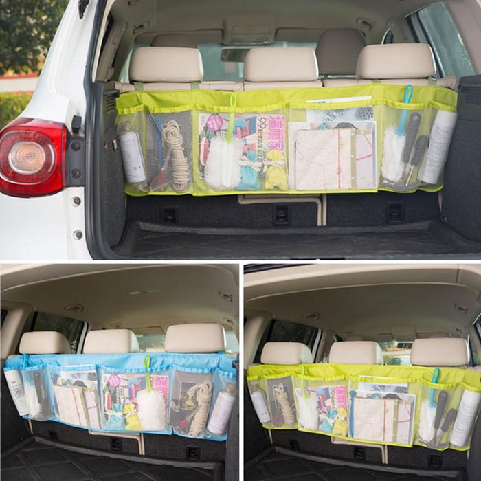 كبير السيارات المنظم سيارة التمهيد حقيبة متعددة الوظائف طوي القمامة شنقا منظمي التخزين للسيارات تخزين سعة مقعد الحقيبة WLL253