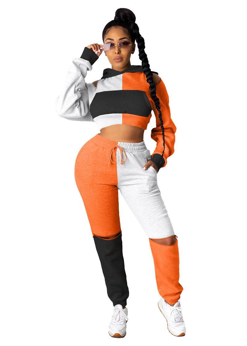 Moda Kontrast Renk Bayan Eşofmanlar Casual Oymak Iki Parçalı Set Kapşonlu Tasarımcı Iki Parçalı Pantolon
