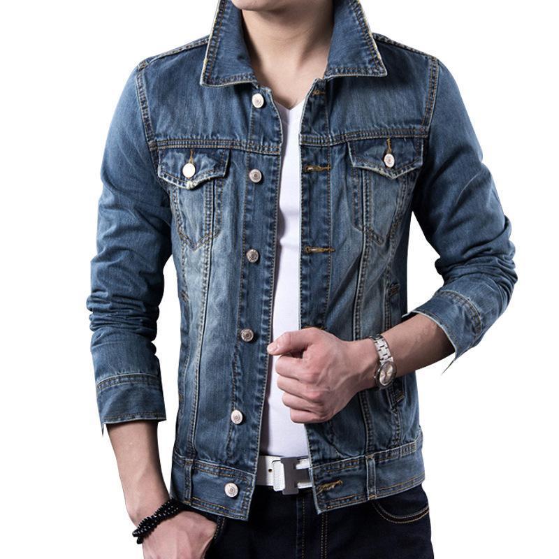 Slim Hombres Jean Chaqueta Vintage Hombre Chaquetas y abrigos Moda Hombres Ropa 2020
