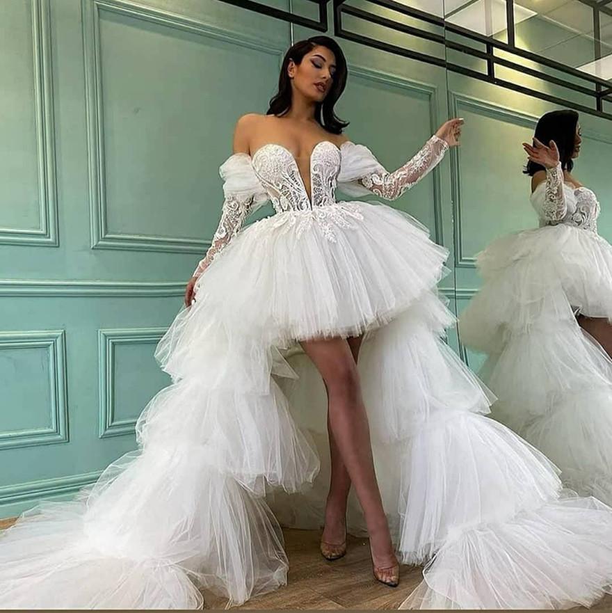 Летние короткие пухлые тюль свадебные платья с съемным поездами, многоуровневые длинные развертки домохозяйства DE SORIEE с длинными рукавами невесты Формальные Vestidos