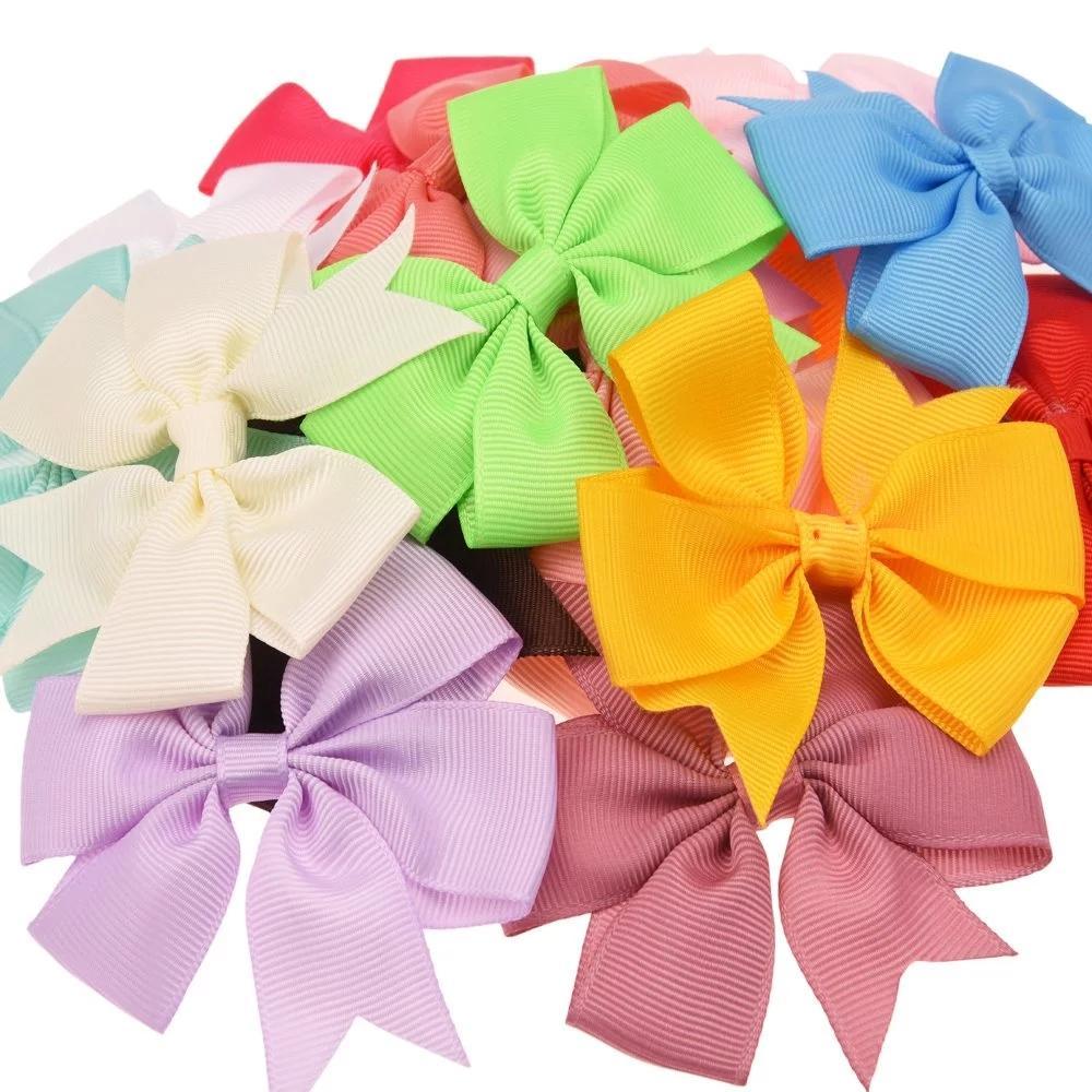 10 adet 8 cm Grogren Kurdele Saç Yaylar Hiçbir Klipler Butik Saç Aksesuarları Çiçek Şapkalar DIY Aksesuar Bandı için
