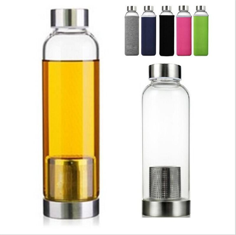 Glass Water Bottle High Temperature Resistant Glass Sport Water Bottle With Tea Filter Infuser Bottle Nylon Sleeve Sea Shipping OOB67