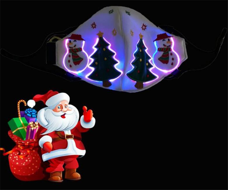 Snowman Noël arbre de Noël brillant masque masques lumineux masque respirant réutilisable mode masque de visage clignotant par DHL