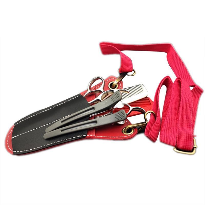Bolsa Herramientas de peinado por favor pareja tijeras tijeras 2 cinturón de PU Cinturón de cabello con la bolsa de lata y la bolsa de bolsa peine ufjaf
