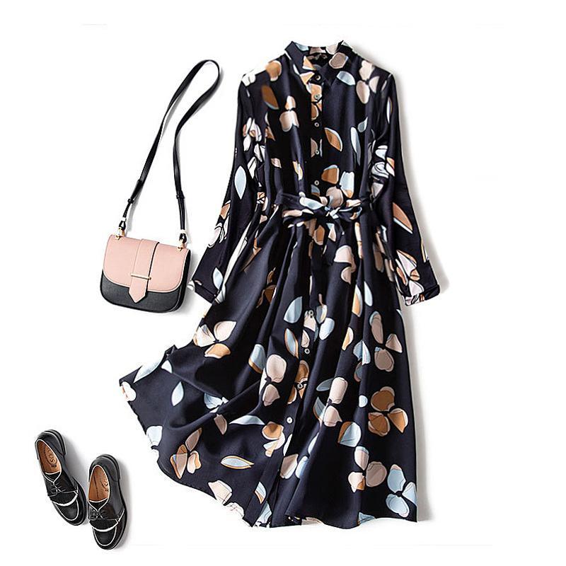 Vintage Baskılı Yaka kadın Elbise Zarif Moda Yüksek Bel Orta Uzunlukta Elbiseler Kadın 2021 İlkbahar Yaz Gevşek Lady Vestidos Q0111