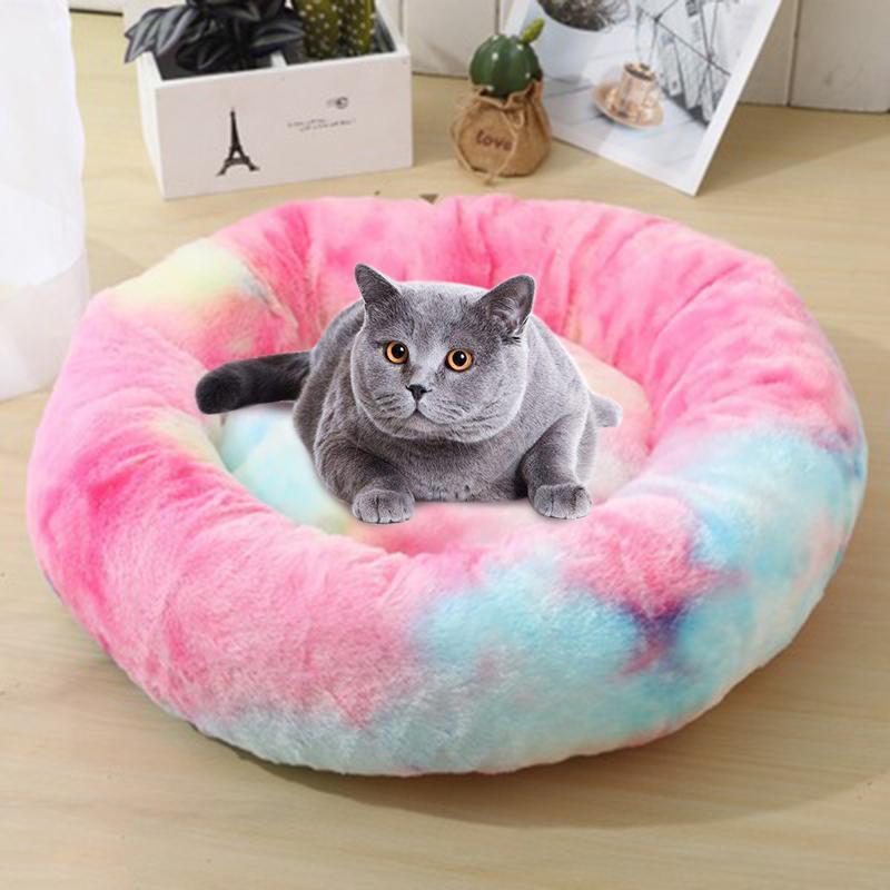 Kedi Yatakları Mobilya Yuvarlak Renkli Gökkuşağı Yatak Panier Pour Chien Kış Sıcak Köpek Yumuşak Uzun Peluş Yavru Derin Uyku Yastık Kediler Malzemeleri
