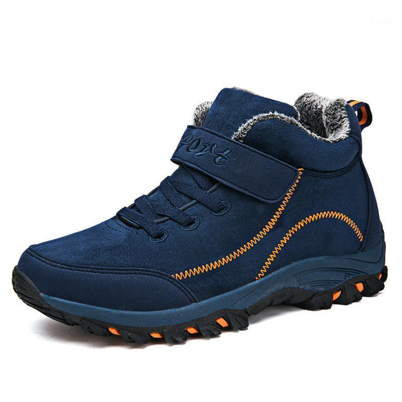 Водонепроницаемые зимние женские ботинки с мехом теплые снежные женские сапоги рабочие повседневные туфли кроссовки высокие верхние резиновые лодыжки плюс размер1