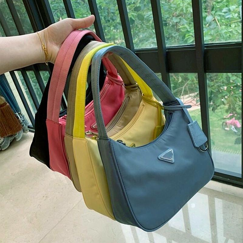 أعلى جودة حمل المرأة الجديدة إعادة طبعة حمل نايلون جلد الكتف حقيبة فاخر مصمم الكتف المرأة حقيبة CROSSBODY حقائب يد