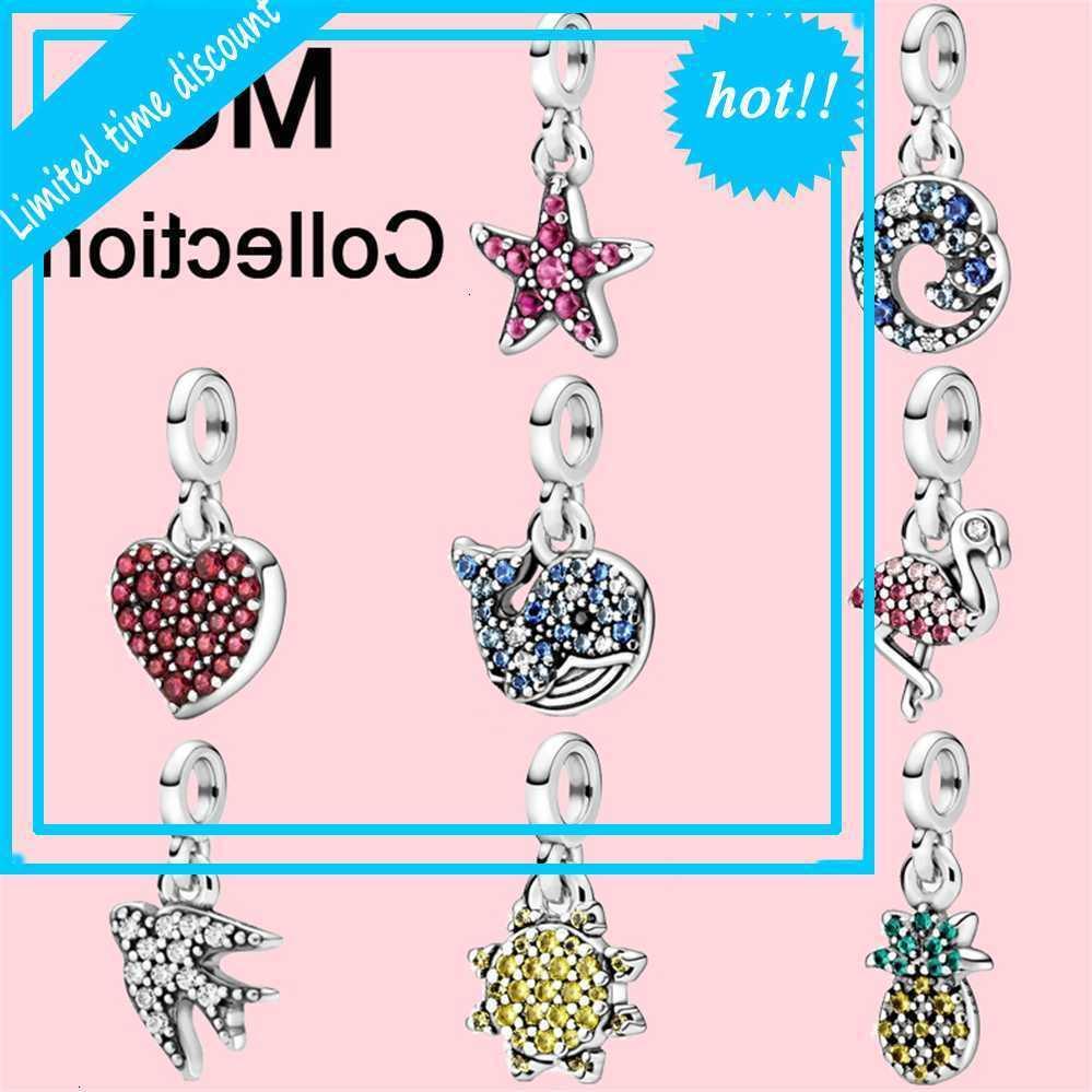 Hot 2020 NOUVEAU 925 Sterling Silver Graws My Rose Flamingo Micro Dangle Charms Fit Original Pandora Me Bracelet Bijoux Poison
