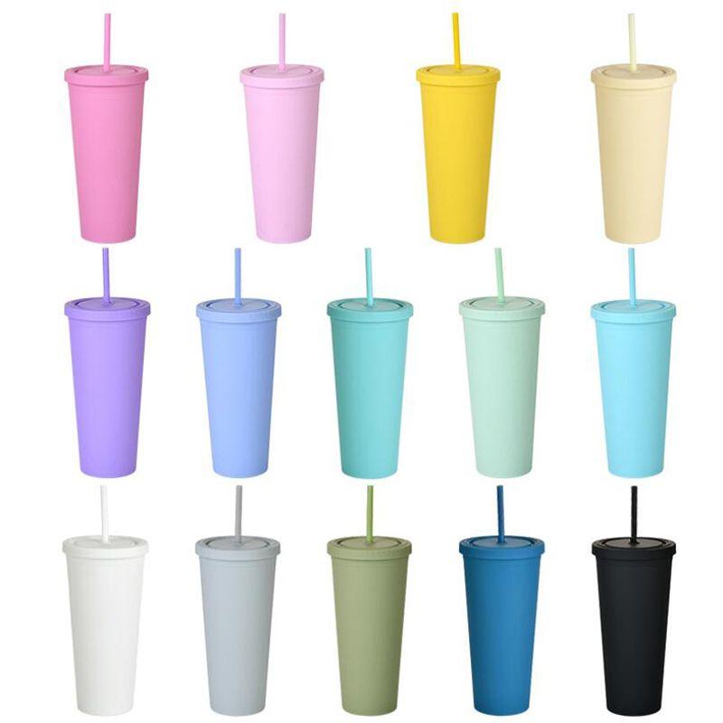 16 унций цветные акриловые чашки пластиковый матовый тумблер с крышками и соломинкой двойной слой портативный водный чашка кофейной чашки в наличии
